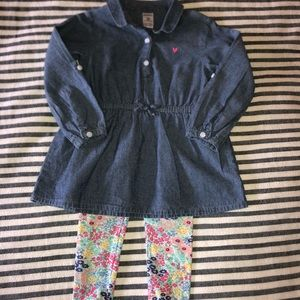 Carter's Denim Tunic, Ruffle Top & Floral Leggings